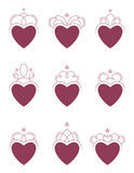 Swirl Hearts. Nine Swirl Hearts. Easy to Edit Royalty Free Stock Photography