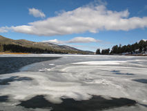 A Swirl of Ice Over Big Bear Lake, California. Stock Images