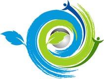 Swirl leaf with human logo Stock Image
