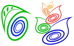 Swirl leafs. Illustrated swirl leafs designs with isolated background Stock Images