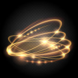 Swirl lighted lines abstract effects. Vector gold circle light glitz effect on transparent background. Bright energy round illustration Stock Photography
