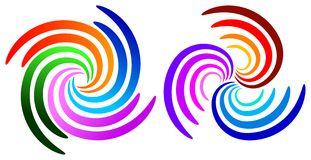 Swirl logos. Isolated illustrated swirl logo designs stock illustration