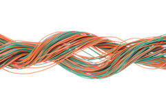 Swirl of multicolored network computer cables Royalty Free Stock Photos