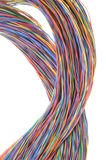 Swirl of multicolored network computer cables. Isolated on white background Royalty Free Stock Photography