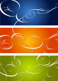 Swirl ornaments. Vector swirl ornaments in three colors stock illustration