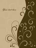 Swirl pattern background. Brown swirl pattern floral vector background with hearts Stock Photos