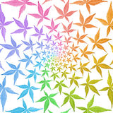 Swirl pattern of circle frames of colorful leaves isolated on wh. Ite. Leaves in rainbow colors Royalty Free Stock Image