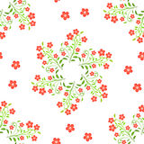 Swirl red flowers with green leaves on white background Stock Image
