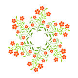 Swirl red flowers with green leavs on white background Royalty Free Stock Image