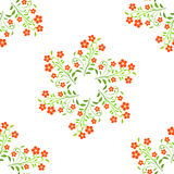 Swirl red flowers with green leavs on white background Stock Photos