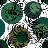 Swirl seamless pattern. Hand drawn black spirals on colorful circles, free layout. Deep forest tones. Textile design Stock Photography