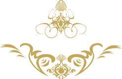 Swirl shield gold. A gothic style image with space for your text Stock Photo