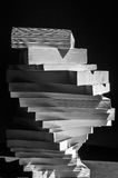 Swirl of stack of books in black and white Royalty Free Stock Photography