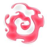 Swirl of strawberry red jam in yogurt. Royalty Free Stock Photography