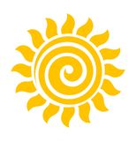 Swirl sun icon vector. Swirl flat design sun icon vector illustration royalty free illustration