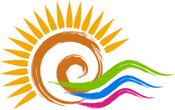 Swirl sun logo. Illustration art of a swirl sun logo with isolated background Stock Illustration