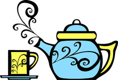 Swirl Teapot and Mug Royalty Free Stock Photography