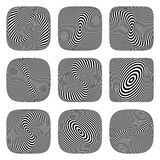 Swirl and torsion illusion. 3D op art design elements. Stock Photo