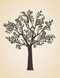 Swirl tree art concept. Brown logo. Engraving Logotype Stock Images