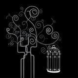 Swirl tree bird cage stock images