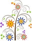 Swirl Tree and Flowers Vector. Flower Swirls Tree, White Background Stock Images