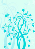 Swirl tree with hearts Royalty Free Stock Image