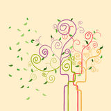 Swirl trendy spring tree Stock Images