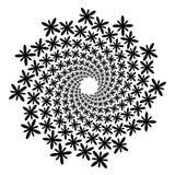 Swirl, vortex background. Rotating spiral. Icon, flower, petals, outline, black, white Stock Photo