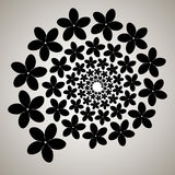 Swirl, vortex background. Rotating spiral. Pattern of a whirling of hearts. Icon, flower, petals, outline, black, white Stock Image