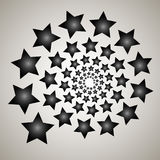 Swirl, vortex background. Rotating spiral. Pattern of a whirling of hearts. Icon, stars, star, outline, black, white Stock Images