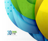 Swirl and wave 3d effect objects, abstract template vector design Royalty Free Stock Images