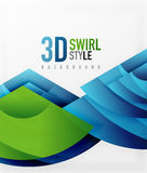 Swirl and wave 3d effect objects, abstract template vector design. Overlapping waves on white background Royalty Free Stock Photos