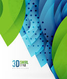 Swirl and wave 3d effect objects, abstract template vector design. Overlapping waves on white background Royalty Free Stock Photo