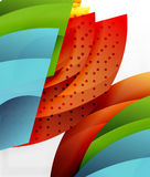 Swirl and wave 3d effect objects, abstract template vector design. Overlapping waves on white background Stock Photo