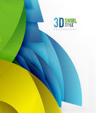 Swirl and wave 3d effect objects, abstract template vector design. Overlapping waves on white background Royalty Free Stock Image