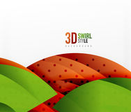 Swirl and wave 3d effect objects, abstract template vector design. Overlapping waves on white background Royalty Free Stock Photography
