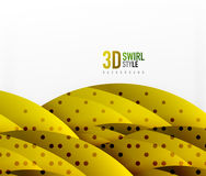 Swirl and wave 3d effect objects, abstract template vector design. Overlapping waves on white background Stock Photography