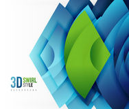 Swirl and wave 3d effect objects, abstract template vector design Royalty Free Stock Photo