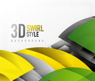 Swirl and wave 3d effect objects, abstract template vector design. Overlapping waves on white background Stock Photos