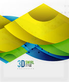 Swirl and wave 3d effect objects, abstract template vector design. Overlapping waves on white background Stock Images