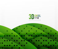 Swirl and wave 3d effect objects, abstract template vector design Stock Photo