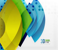 Swirl and wave 3d effect objects, abstract template vector design Stock Images