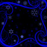 Swirl winter border. Swirly wind and snowflake winter background or border Royalty Free Stock Image