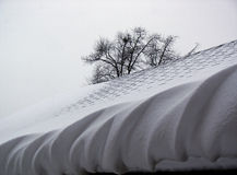 Swirled Snow Edge. Winter nature designed the snow edge on the roof Royalty Free Stock Photography