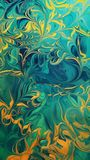 Swirled Turquoise and Gold. Swirls of deep turquoise, navy and gold Royalty Free Stock Photo
