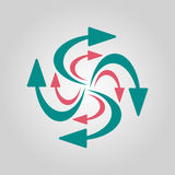 Swirling arrows icon. Vector illustration Royalty Free Stock Photography