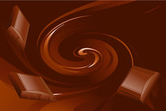 Swirling brown chocolate. Illustration of pieces of brown chocolate on swirling background Royalty Free Stock Photos