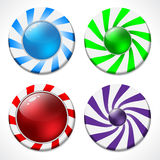 Swirling button design set Stock Photos