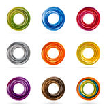 Swirling circle designs. Set or collection of colorful, swirling circle designs or patterns, suitable for graphic logos Stock Photography