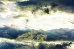A swirling dark storm cloud spins Royalty Free Stock Images
